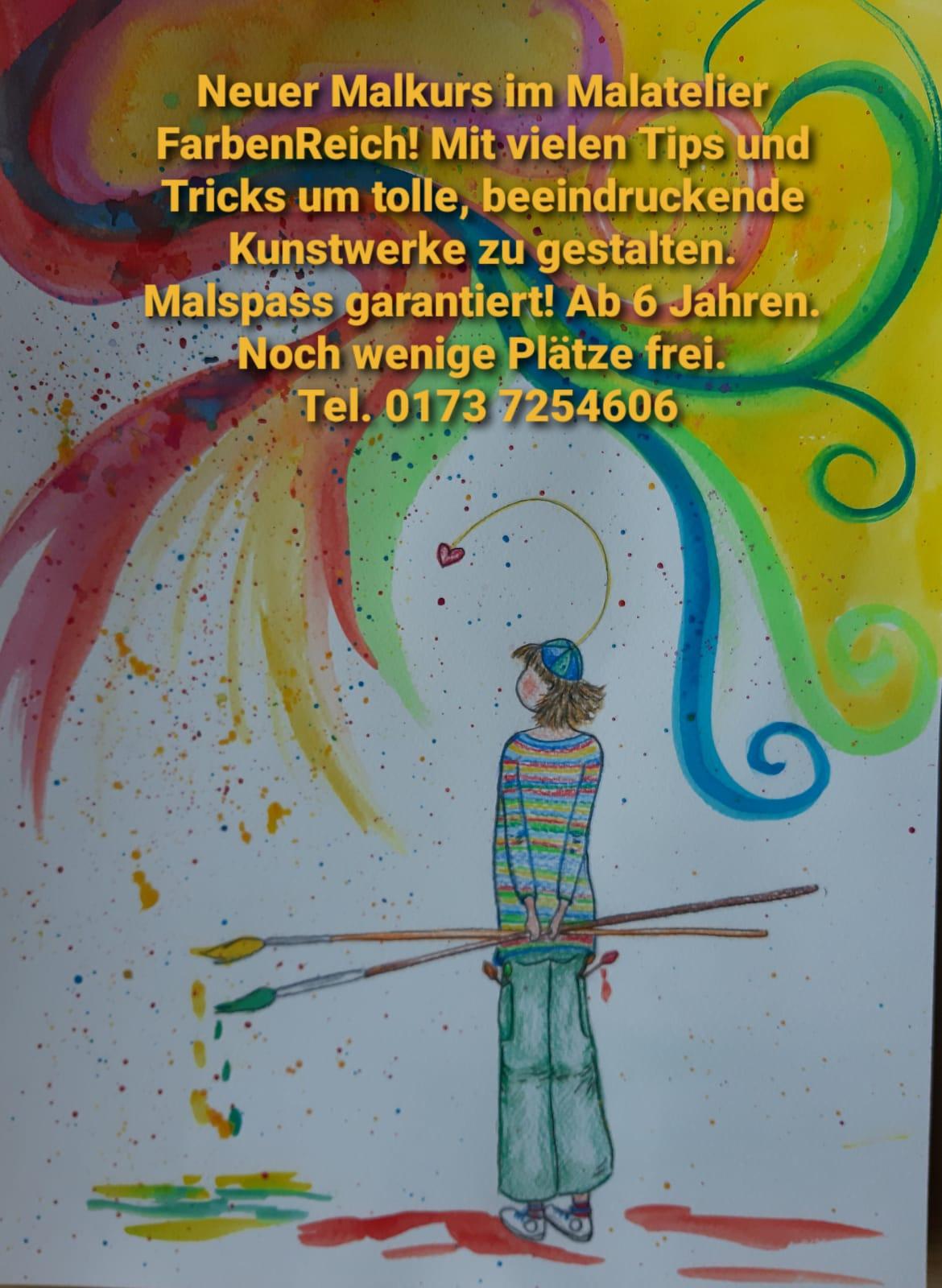 Neuer Malkurs im Malatelier FarbenReich um beeindruckende Kunstwerke zu gestalten. Ab 6 Jahren - jetzt anmelden!
